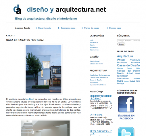 diseno y arcquitectura.net「玉津の住宅 / house in tamatsu」掲載