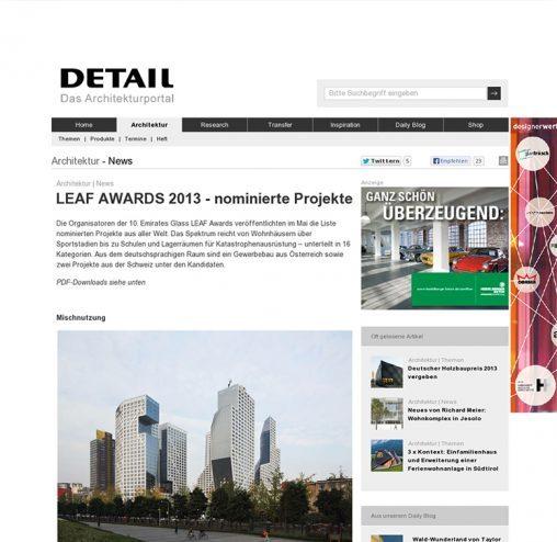 ドイツの建築誌 DETAIL のwebsite LEAF AWARDS 2013 のノミネート・プロジェクト掲載